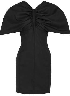 Jacquemus Vallauris Gathered Wool-piqué Mini Dress - Black