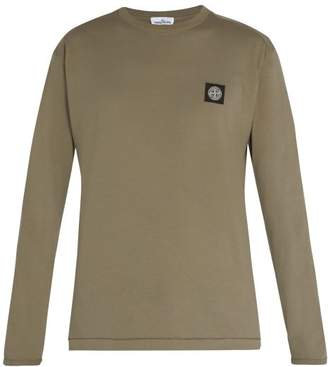 Stone Island Long Sleeved Cotton Jersey T Shirt - Mens - Khaki