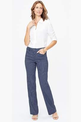 NYDJ Womens Blue Stripe Stretch Linen Trouser - Blue
