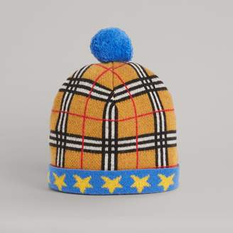 Burberry Stars and Check Cashmere Turnback Beanie