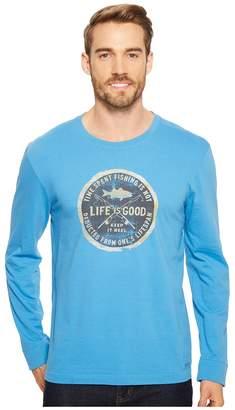 Life is Good Time Spent Fishing Long Sleeve Crusher Tee Men's T Shirt