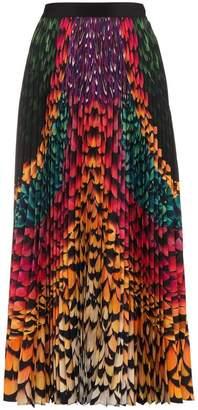 Mary Katrantzou Pleated Rainbow Feather Skirt