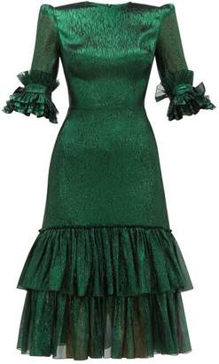 The Vampire's Wife The Veneration Tiered Silk Blend Lame Dress - Womens - Dark Green