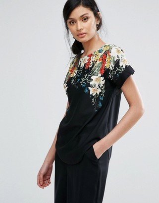 Oasis Floral Print Woven Tee $49 thestylecure.com