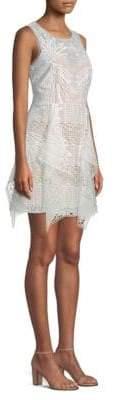 BCBGMAXAZRIA Draped Lace Mini Dress