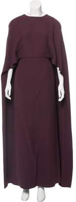 Valentino Cape-Accented Evening Dress