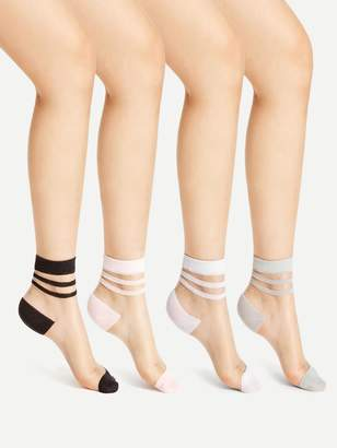 Shein Striped Cuff Sheer Ankle Socks 4pairs