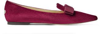 Jimmy Choo GALA Bordeaux Lizard Printed Velvet Pointed Toe Flats