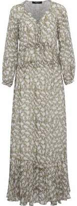 Derek Lam Lace-Up Ruffled Snake-Print Silk-Georgette Maxi Dress