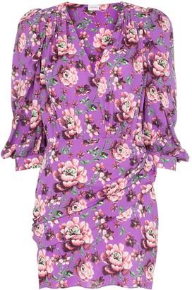 Magda Butrym Faro floral print button-down peasant sleeve silk mini dress