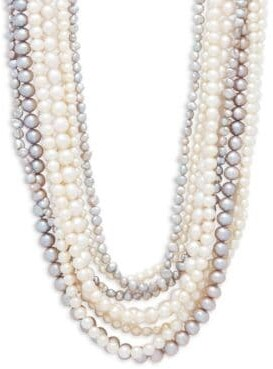 4-8MM Multicolour Semi-Round & Baroque Pearl and Sterling Silver Multirow Necklace