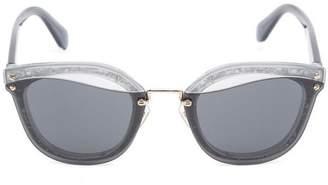 Miu Miu Colour-Blocked Acetate Round Sunglasses