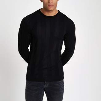 River Island Black long sleeve ribbed muscle fit sweater