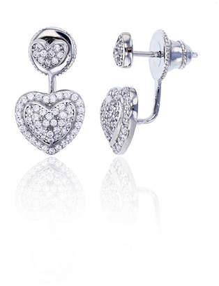 FINE JEWELRY Sterling Silver Cubic Zirconia Heart Double Stud Earring