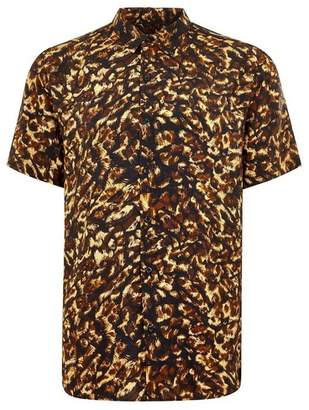 Topman Mens Multi Leopard Print Short Sleeve Shirt