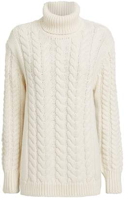 Tibi Cable Knit Open Back Turtleneck