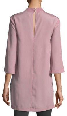 Neiman Marcus Quinn Mock-Neck Embellished Blouse
