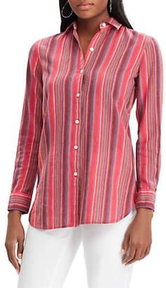 Chaps Petite Sheldon Striped Linen-Blend Shirt