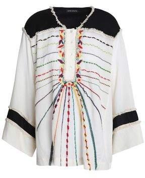 Antik Batik Fringe-Trimmed Embroidered Cotton Tunic