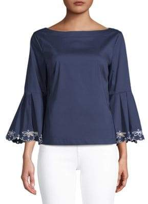 Laundry by Shelli Segal Scalloped Embroidered Top
