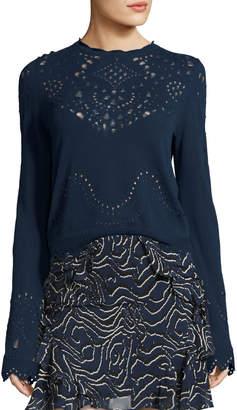 Derek Lam 10 Crosby Pointelle Crewneck Cotton Sweater, Blue