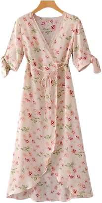 Goodnight Macaroon 'Janella' Floral Print Maxi Wrap Dress