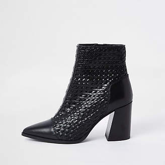 River Island Black leather woven pointed toe boot