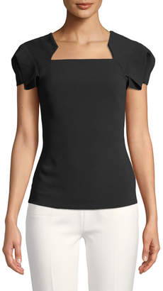 Roland Mouret Fluttered Cap-Sleeve Square-Neck Blouse