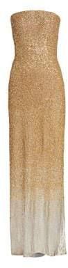 Oscar de la Renta Sequin Strapless Column Gown