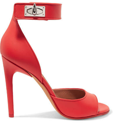 Givenchy - Shark Lock Leather Sandals - Red