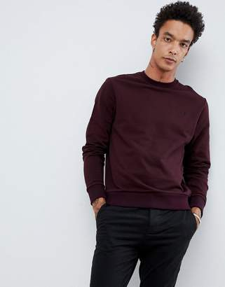 Fred Perry crew neck sweat in burgundy