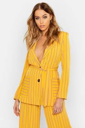 boohoo Woven Stripe Tie Belt Pocket Blazer