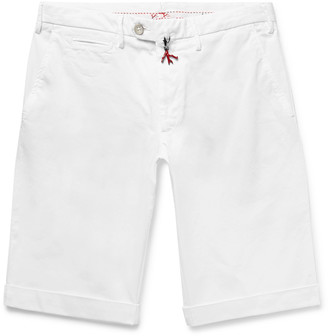 Isaia Slim-Fit Stretch-Cotton Twill Bermuda Shorts - Men - White
