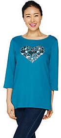 Factory Quacker Heart Sequin T-shirt withBateau Neck