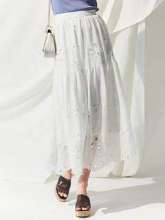 MERCURYDUO (マーキュリーデュオ) - 楊柳刺繍フレアマキシスカート