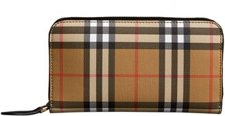 Burberry Elmore Vintage Check Leather Zip Around Wallet