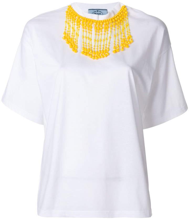 Prada beaded collar T-shirt
