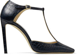 Jimmy Choo LEXICA 100 Navy Croc Embossed Leather T-Bar Pumps