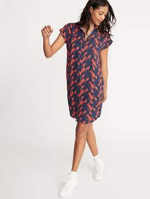 Old Navy Printed Linen-Blend Shirt Dress for Women