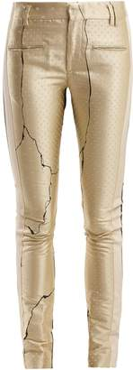 Haider Ackermann Mid-rise jacquard and leather trousers