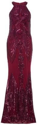 Quiz Berry Sequin High Neck Fishtail Maxi Dress
