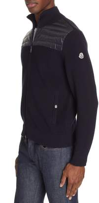 Moncler Maglione Knit Jacket with Quilted Yoke
