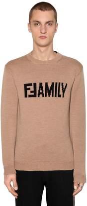 Fendi Two Tone Ffamily Wool Intarsia Sweater