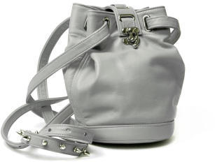 Capsize lambskin leather bucket bag in grey from Boticca