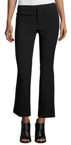 Rebecca TaylorRebecca Taylor Slim-Fit Flare-Leg Cropped Suit Pants, Black