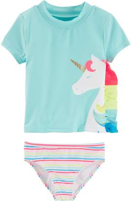 Carter's Toddler Girl Unicorn Rashguard & Bottoms Swimsuit Set