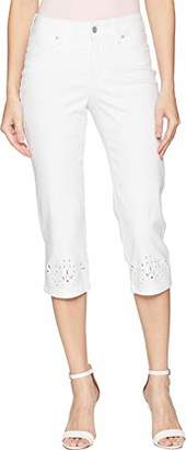 NYDJ Women's Marilyn Crop with Eyelet Embroidery Hem