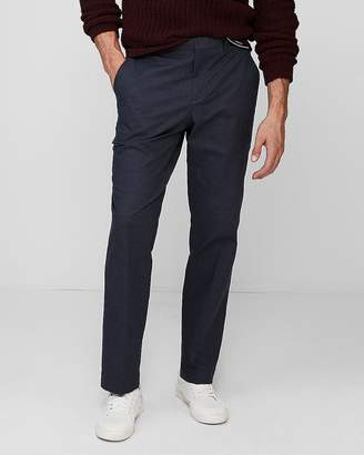 Express Relaxed Navy Stretch Cotton Twill Dress Pant