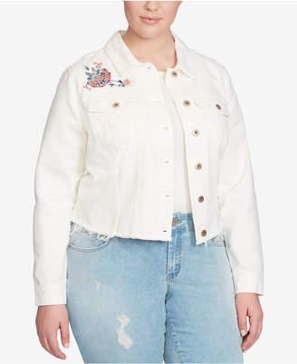 Jessica Simpson Trendy Plus Size Embroidered Denim Jacket
