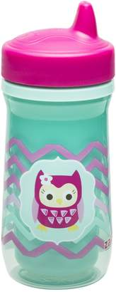 Zak Designs Toddlerific Perfect Flo Spout Toddler Cup with Green Owl, Double Wall Insulated Construction and Adjustable Flow Technology, Break-resistant and BPA-free Plastic, 8.7oz